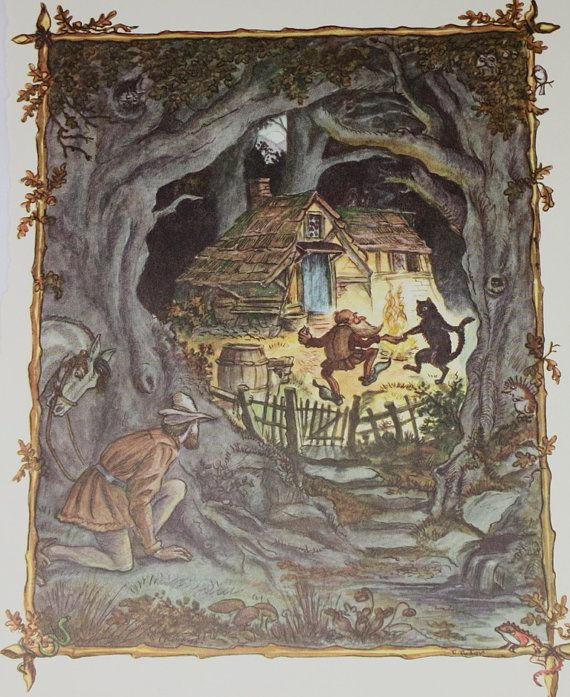 Rumpelstiltskin Fairy Tale Illustration - Original 1961 Childrens Nursery Tasha Tudor Illustration