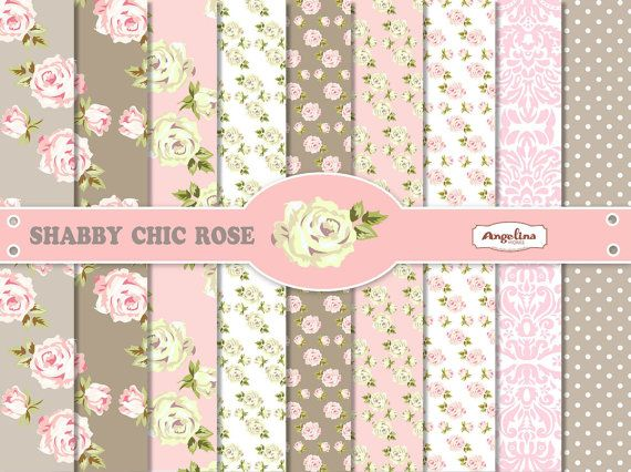 9 Shabby Chic Rose Pink And Gray Digital Scrapbook Papers 8x12 Inch