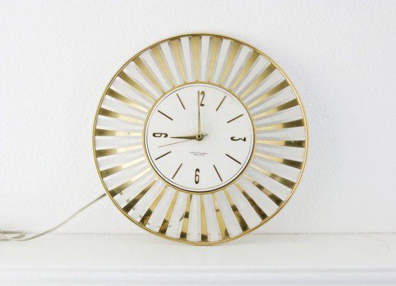 Vintage Mid Century Wall Clock Westclox Mad Men Brass Gold Metal