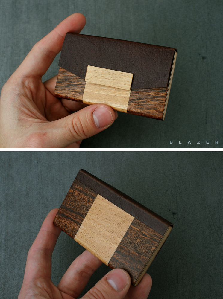 BLAZER LUXURY business card holder made from palisandre, beech and ...