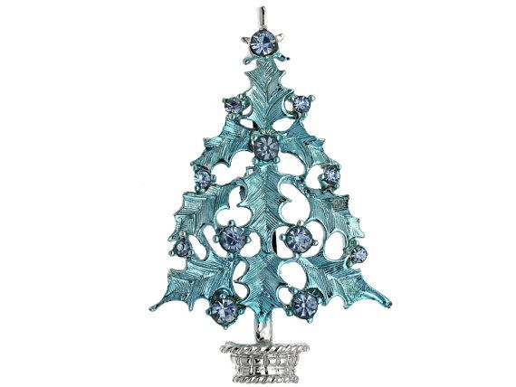 Vintage Christmas Tree Pin 1960s Blue By