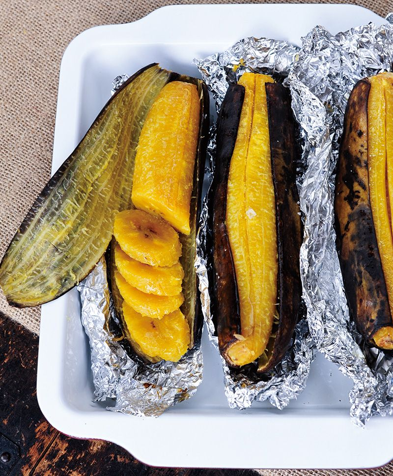 Baked Plantains Recipe—Plantains look like bananas, but they're much  starchier, and therefore do a terrific job of filling in for potatoes (even  if they ...
