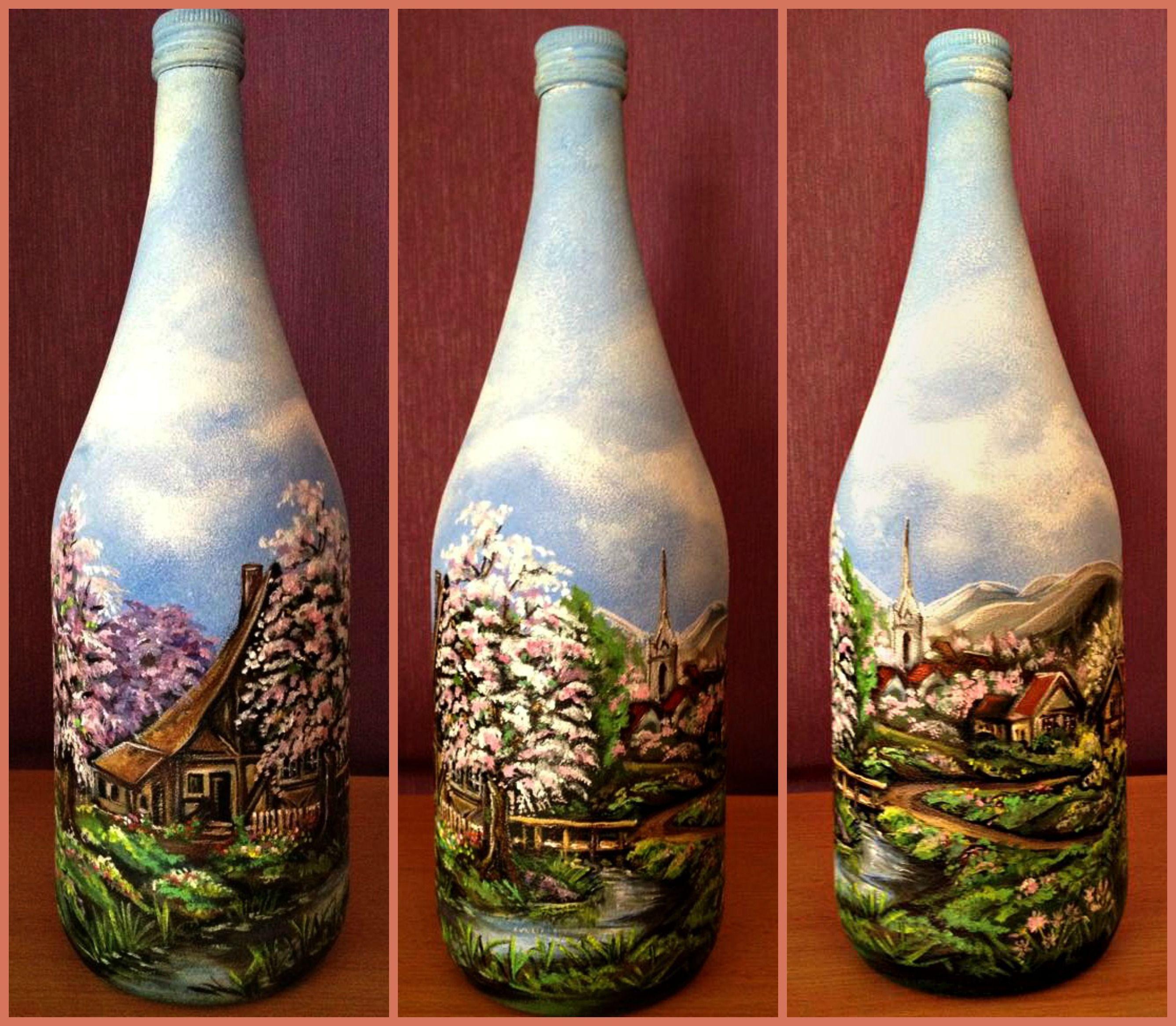 fr hling deko flasche bild auf glas akrylfarben handarbeit bottles botellas decoradas. Black Bedroom Furniture Sets. Home Design Ideas