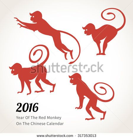 Vector Illustration Of Monkey Symbol Of 2016 On The Chinese