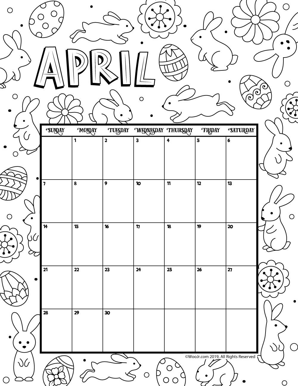 April 2019 Coloring Calendar Kids Calendar Calendar Pages Calendar