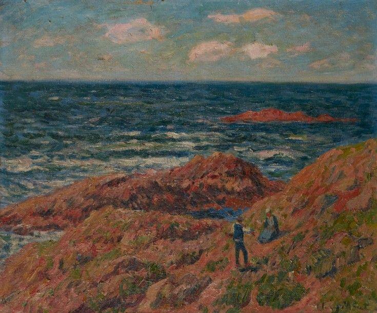 Henry MORET (Cherbourg 1856 - Paris 1913) Le pêcheur en bonne compagnie  vers Doelan, circa 1911 Huile sur toile   Art moderne, Vente aux enchères,  Peintre