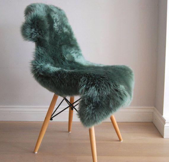 Forest Green Sheepskin Rug Throw RARE Stunning Colour