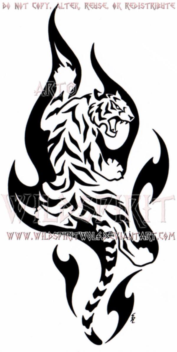 Tatuaje Tigre Tribal climbing flame tiger designwildspiritwolf on @deviantart