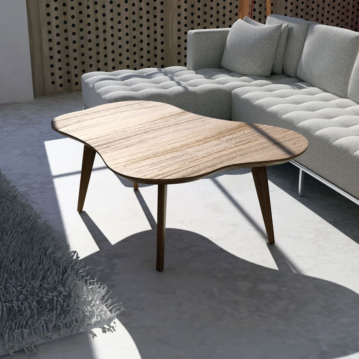 Amoeba Wild Walnut 42 5 Wide Coffee Table With Images Mid