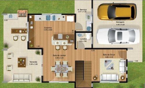 Planos de casa moderna con garage amplio de dos plantas for Casas modernas imagenes y planos