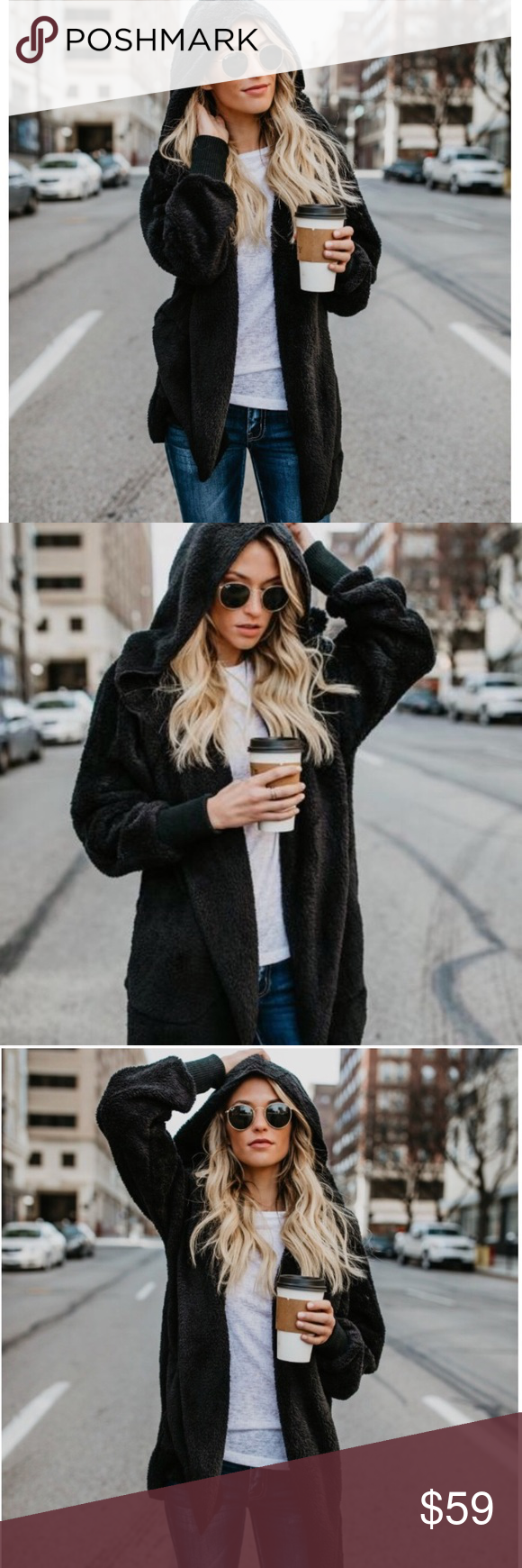 Paige Vegan Sherpa Fuzzy Black Jacket Softest jacket you will ever own. Vegan Sherpa feel to it.  35% Cotton 65% Polyester. Has pockets and hood. Jackets & Coats