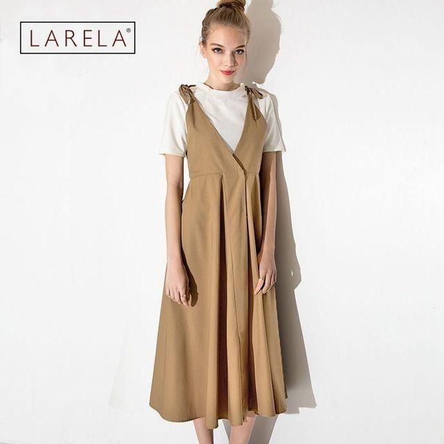 2016 Mori Girl Sweet College Women khaki Dress V Collar Suspender Dress Women Loose Skinny Female Strap Dress RE910