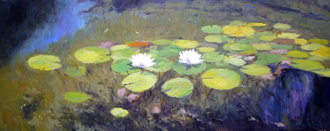 Cuadro al leo de un estanque con nen fares cuadros de for Pintura para estanques