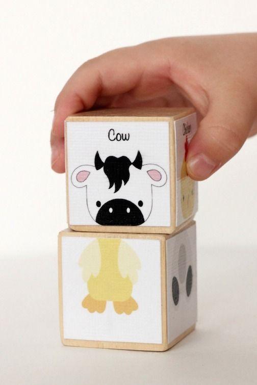 Silhouette America Blog | DIY Animal Blocks for kids using adhesive cardstock