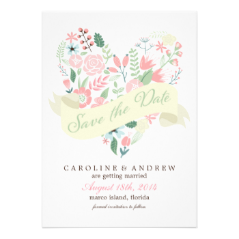 Modern and stylish save the date announcements perfect for a spring or summer wedding feature a beautiful illustration of a floral heart. Visit our store for more color options and matching products. #wedding #save #the #date #colorful #floral #heart #flowers #garden #spring #rustic #country #summer #whimsical #romantic #sweet