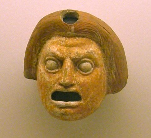 Close-up of one of the terracotta masks from Lipari, Sicily