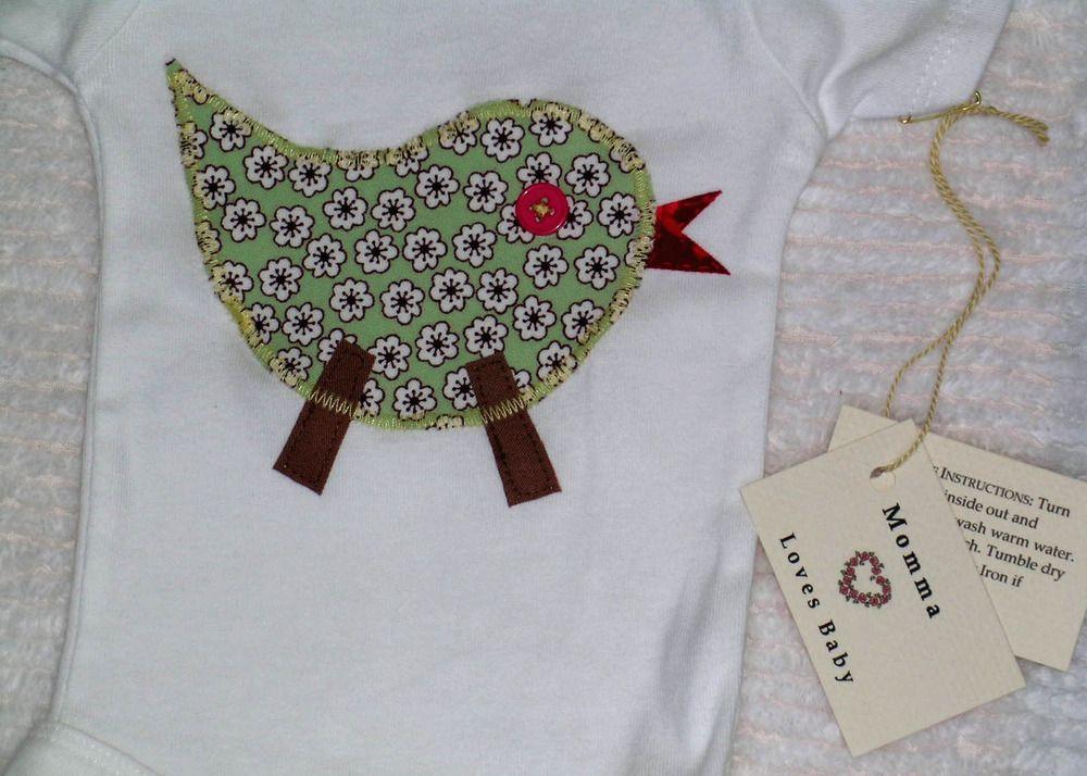 Momma Loves Baby — Little Bird Applique Onesie