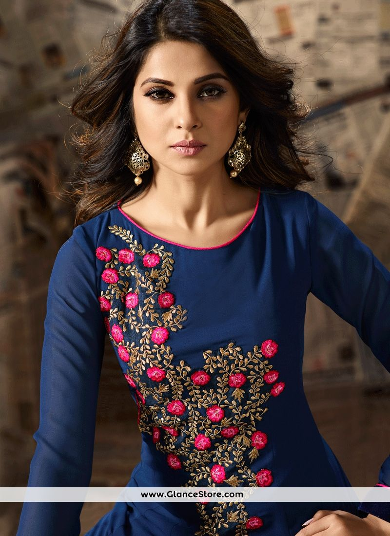 6712459fad7 Jennifer Winget Blue Faux Georgette Anarkali Suit