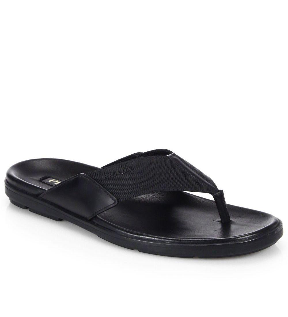 462ca3973 Prada Nylon Thong Sandals Black  98.00