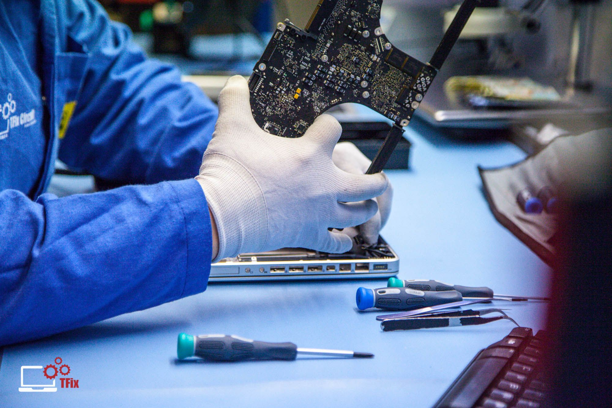 It is vital that any #macbook that has been liquid damaged undergoes #professional cleaning as soon as possible. Corrosion causes failed connections on logic board. Our #engineers can identify, repair and replace #PCB tracks and faulty #components. Visit www.tfix.co.uk for more information.