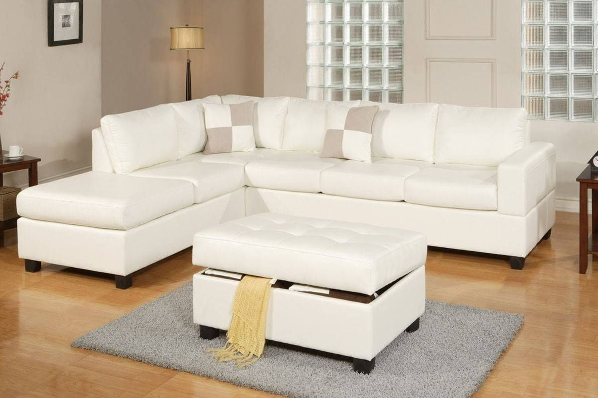 Poundex F7354 3 Pcs Off White Bonded Leather Reversible Sectional Sofa