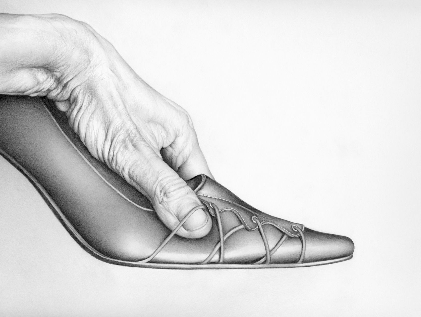 Male hand grasping womans stiletto shoe cath riley debut art