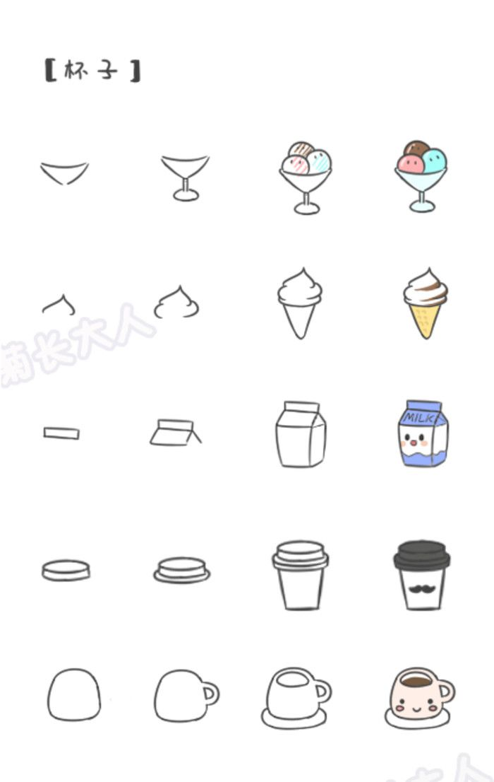 Calendar Drawing Easy : 如何画萌萌哒食物 杯子,来自 基质的菊长大人 kawaii in pinterest