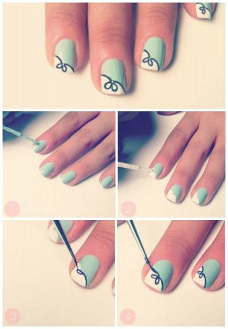 tutorial nail art per unghie corte uñas pinterest