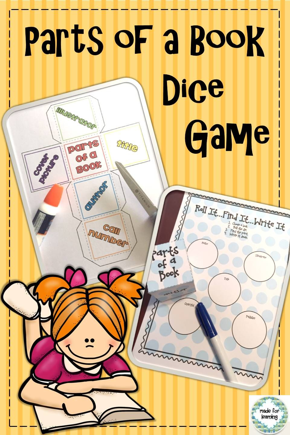 Parts Of A Book Dice Game Library Skills Lesson Library Lesson Plans Kindergarten Library Library Skills [ 1440 x 960 Pixel ]