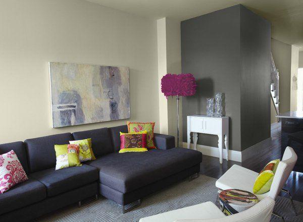 schwarz sofa farbe grau stehlampe pompös attraktiv | einrichten ... - Wohnzimmer Ideen Schwarzes Sofa