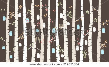 Vector Birch or Aspen Trees with Hanging Mason Jar Lights and Love Birds