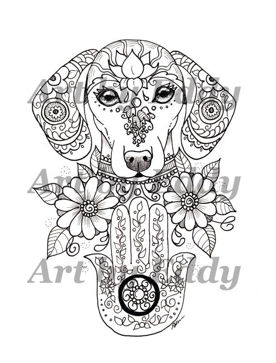 Art of Dachshund Single Coloring Page - Hamsa Palm Doxie ...