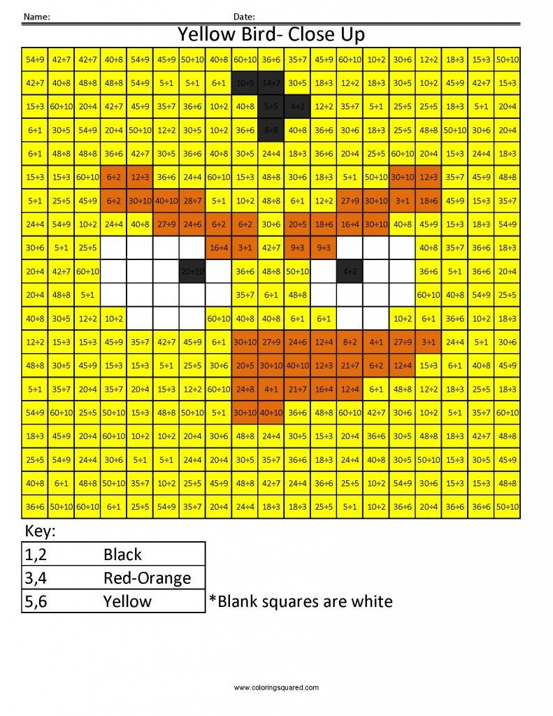 Worksheets Maths Table From 1to 13 angry birds multiplication and division coloring squared