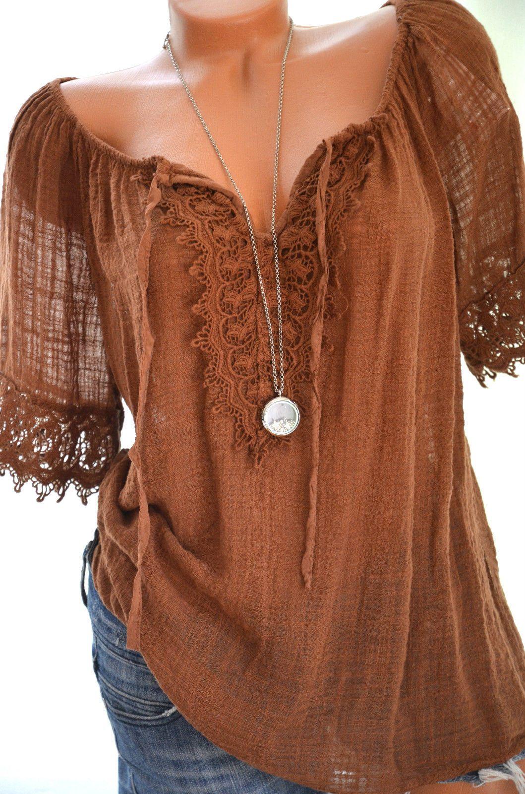 S e h kel tunika carmen h kelspitze hippie boho bluse - Hippie bluse damen ...