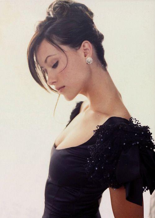 updo, black dress.
