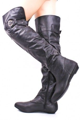 BLACK FAUX LEATHER OVER THE KNEE BUCKLE STRAP BOOTS