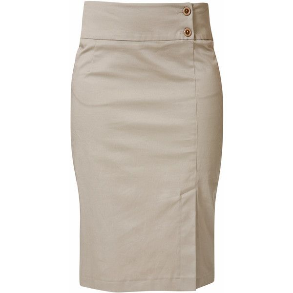 RAXEVSKY ELECTRA Beige Pencil Skirt (165 BRL) ❤ liked on Polyvore featuring skirts, bottoms, gonne, saias, beige pencil skirts, beige skirt, long skirts, brown skirt and long beige skirt