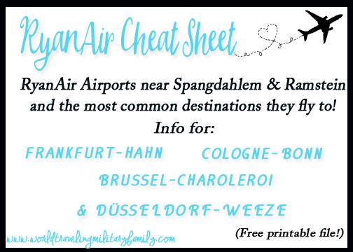 RyanAir Cheat Sheet for the Spangdahem & Ramstein Area