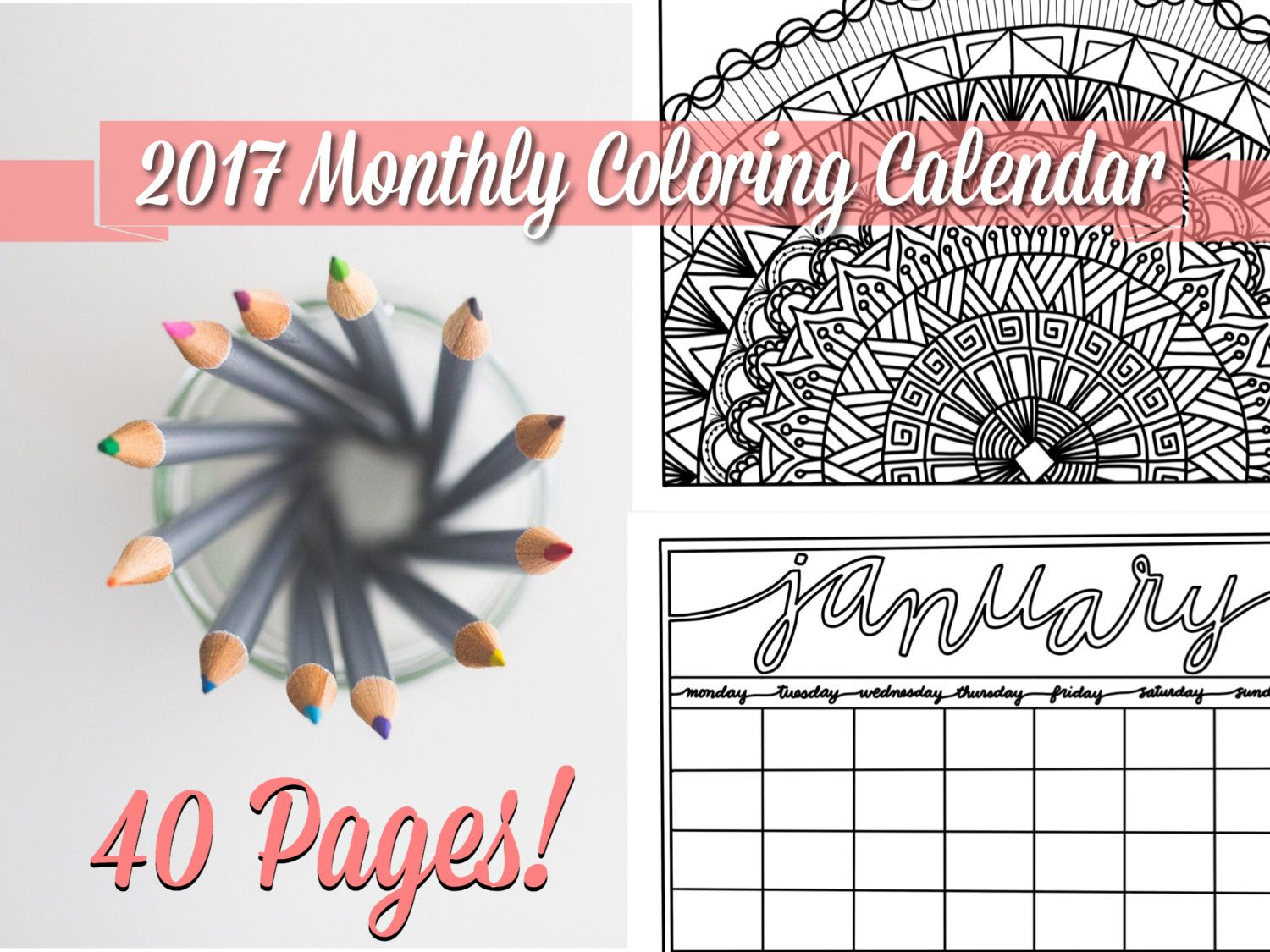 Swear word coloring book sarah bigwood - Coloring Calendar Monthly Planner 2017 Undated Mandalas Printable Pages Gifts For Her Office Organizer Zip File Digital Download