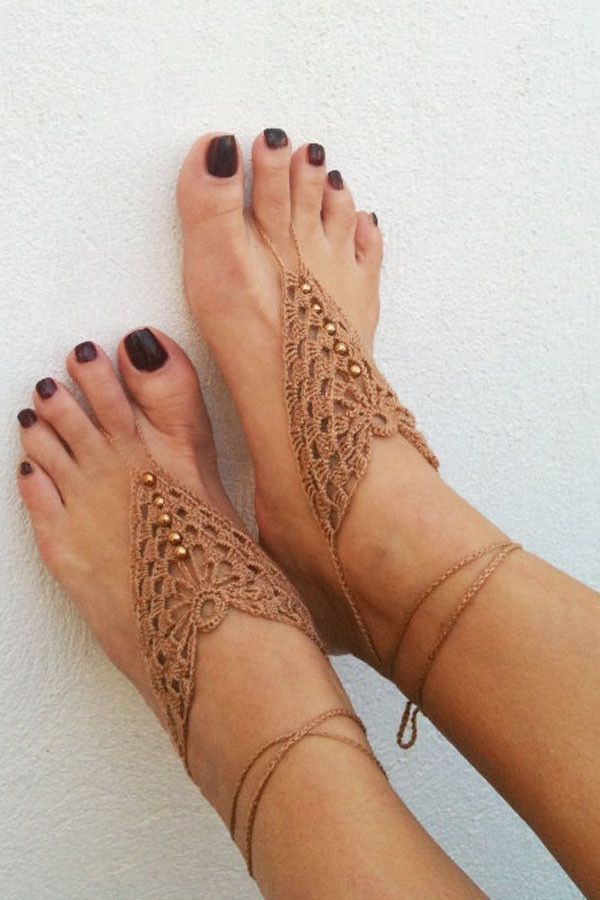Crochet Mix Color Barefoot Sandals Nude Shoes Foot Jewelry Anklet