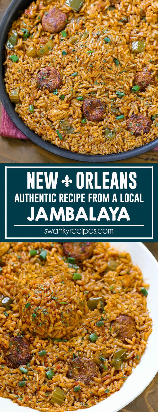 Jambalaya - Classic Creole Jambalaya recipe with chicken and andouille cajun sausage from a New Orleans, Louisiana local. A flavorful tomato rice dish with local French Quarter taste. Jambalaya I creole recipes I cajun recipes I southern cooking #neworleansrecipes #jambalaya #creole