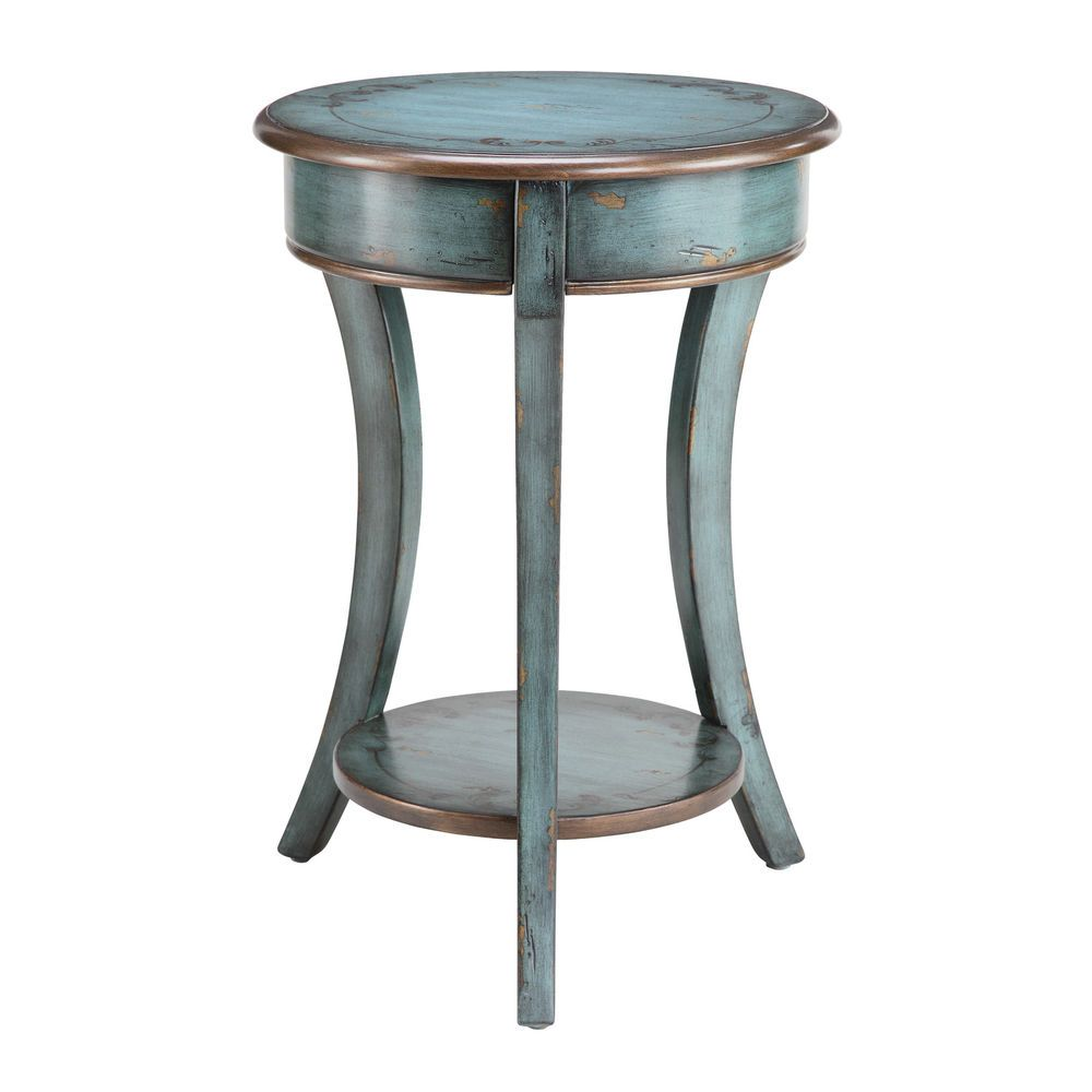 - Freya Country Rustic Round Blue Painted Wood Living Room Furniture