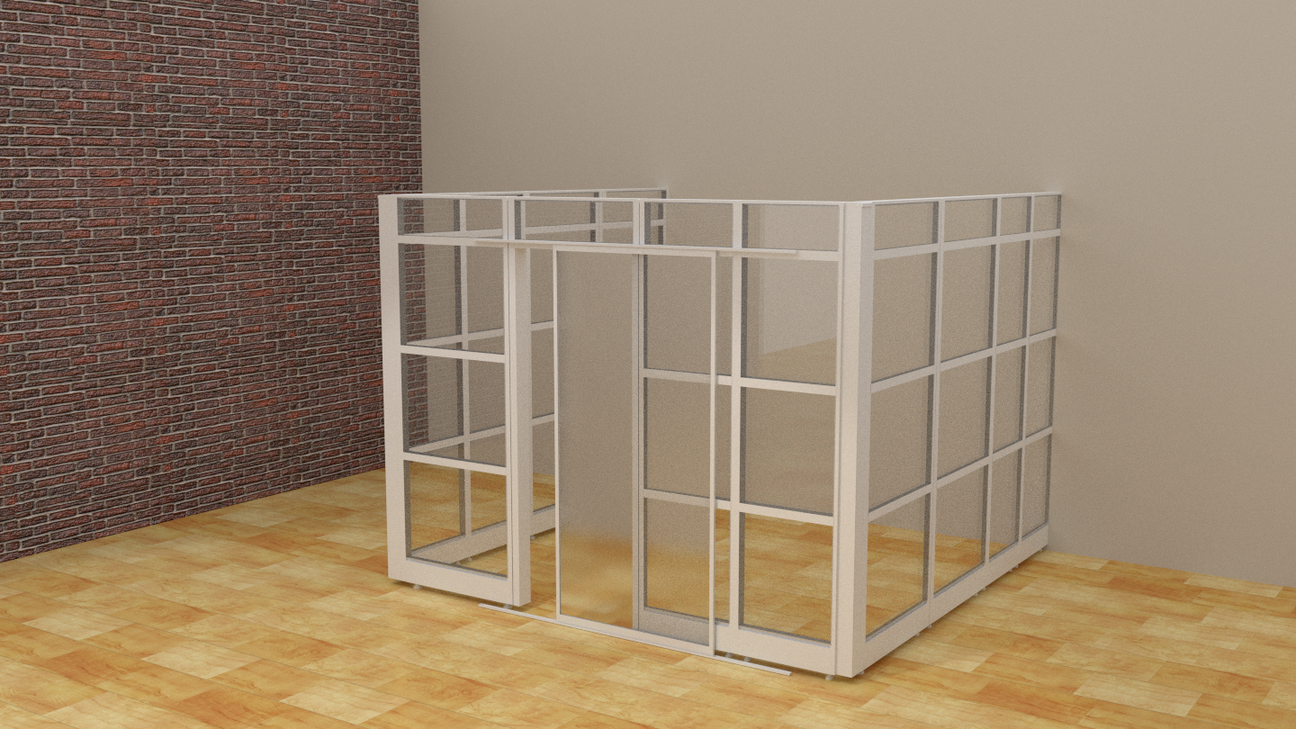 Glass Office Demountable Partitions Cubicles with Doors