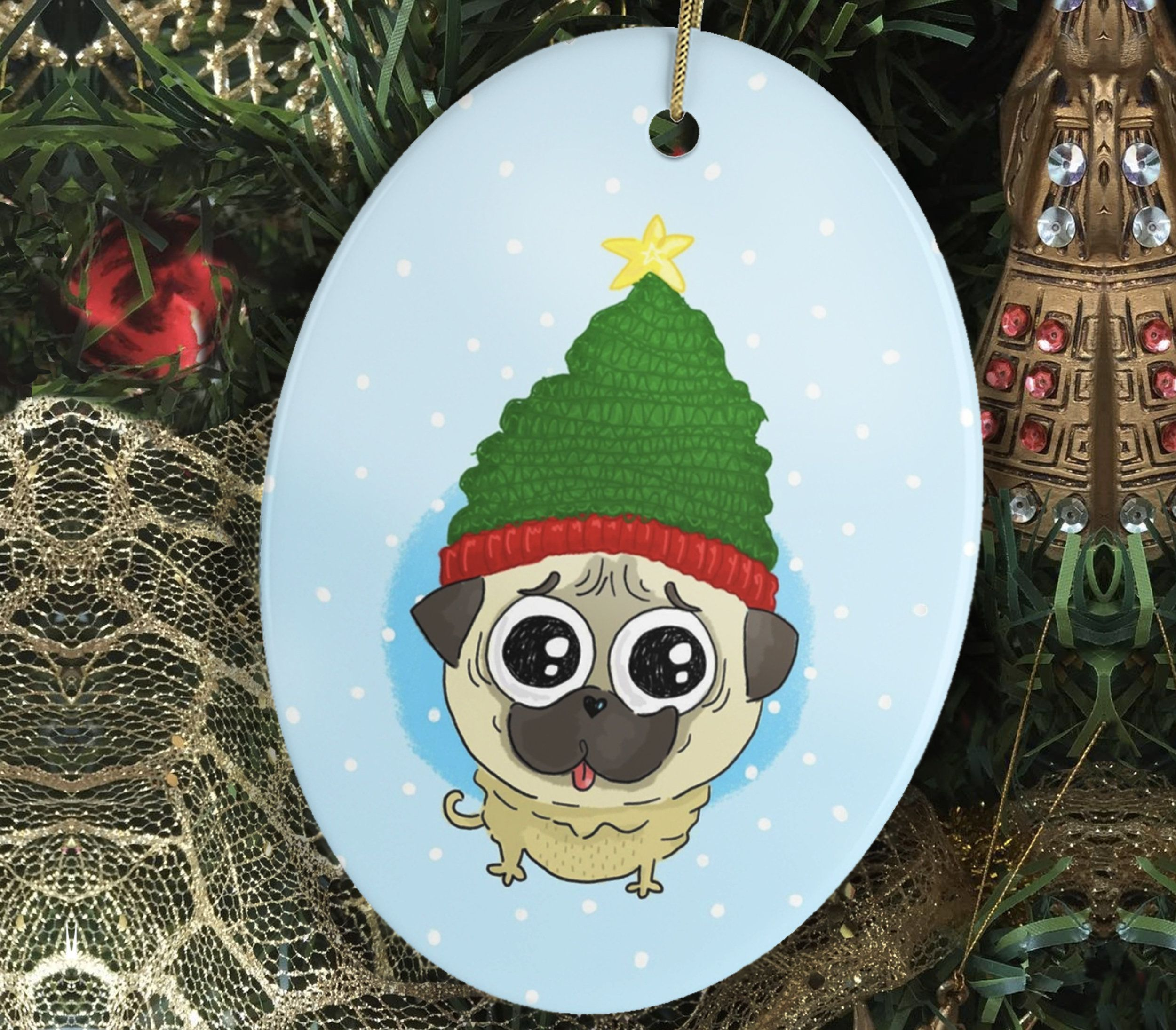 Pug Dog Ceramic Ornament, Christmas Puppy Ornament, Holiday Pet Gift for Dog Lover, Dog Gift