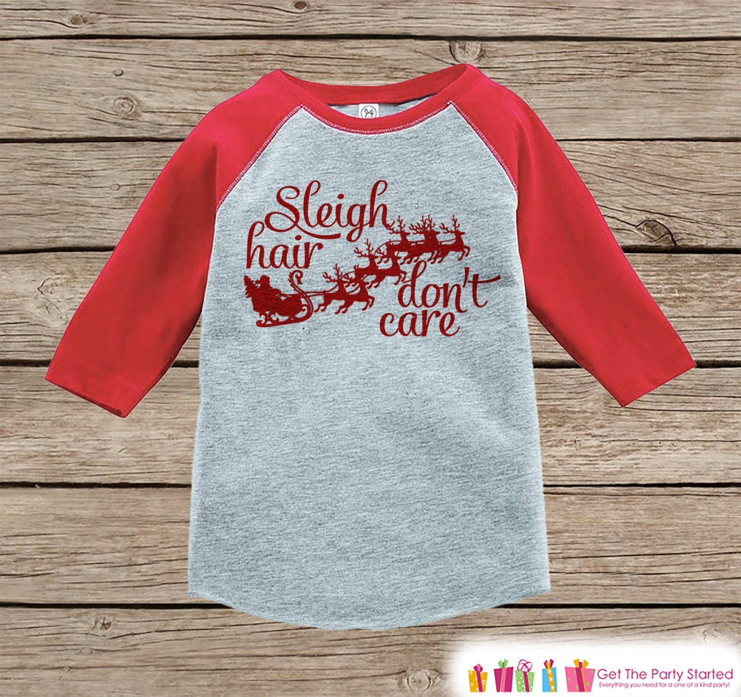Funny Kids Christmas Outfit - Sleigh Hair Don\'t Care Onepiece or ...