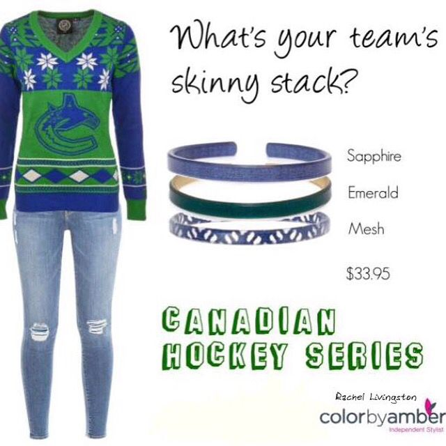 Hockey and jewelry fan? Take a look at this Color by Amber skinny comb. Request your Canadian team if it's not shown here or PM to identify a set! Skinnies are on pages 46-49 of our catalog - www.livingstoncba.com/catalog or go to www.livingstoncba.com/shop to see our Holiday bundles. Skinnies come in 3 sizes too! #ColorbyAmber #cnaskinnies #hockey #hockeyfan #VancouverCanucks #sportsfan #bracelets #jewelry