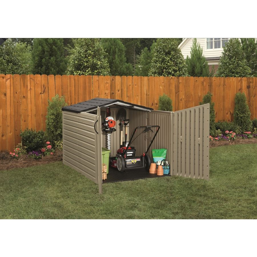 Shop Rubbermaid Roughneck Slide Lid Gable Storage Shed Common 5