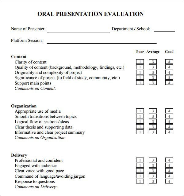 oral presentation evaluation form Presentation Eval Forms