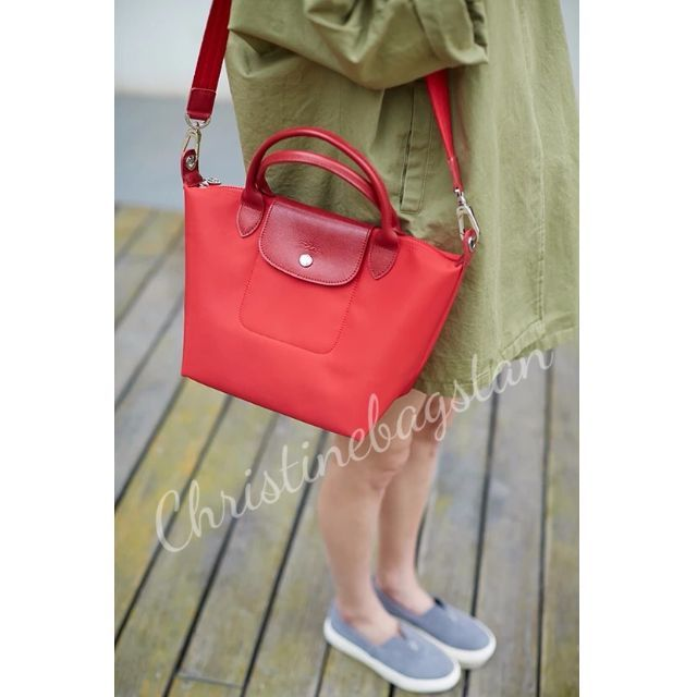 9d6d201c93b Authentic Longchamp Neo Tote Crossbody Bag Small Short Handle Red ...