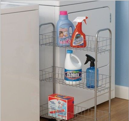 Utilize The Narrow Space Between The Washer And Dryer With A Rolling  Storage Cart.